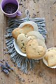 Heart-shaped, gluten-free lavender shortbread biscuits