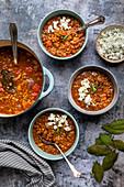 Greek lentil soup wit feta