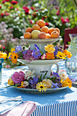 Etagere mit bunten Blüten und Aprikosen als Tischdeko