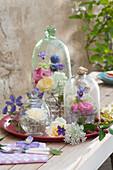 Blütendeko unter Glas : Rosen, Waldrebe, Kugeldistel und wilde Möhre