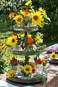 Metalletagere mit kleinen Sträußen aus Sonnenblumen, Kapuzinerkresse, Brombeeren, Borretsch, Löwenmäulchen und Bohnen