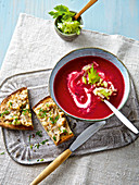 Beetroot soup with apple and celery julienne
