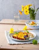 German potato cake with ham and herb quark