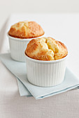 Cheese soufflé served in a small casserole dish