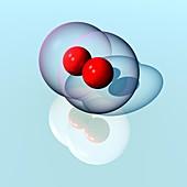 Oxygen molecule,illustration