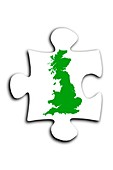 Jigsaw piece with map of England,Scotland and Wales