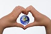Heart shape around Earth
