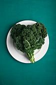 Heart shaped kale leaves on a plate