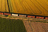 Rail freight transport,aerial view