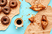 Coffee,croissants and doughnuts