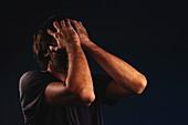 Man crying in despair
