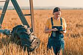 Wheat farmer using tablet in field