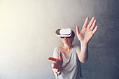 Woman immersed in virtual reality