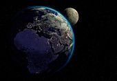 Earth and Moon,illustration