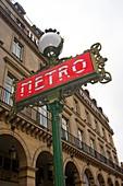 Paris Metro sign.