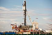 Fracking drilling rig, Lancashire, UK