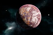 Earth-like planet and nebula, illustration