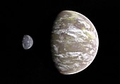 Earth-like planet and moon, illustration