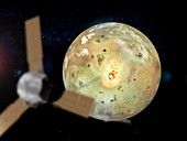Loki Patera volcano on Io, illustration