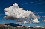 Cumulus mediocris clouds over New Zealand mountains