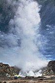 Volcano and steam cloud, New Zealand