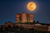 Supermoon over Tower of Evoramonte