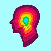 Concentric human heads, illustration