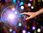 Creation of fundamental particles, conceptual image