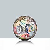 Global currency, conceptual image