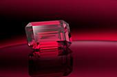 Emerald cut ruby gemstone