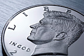 Detail of a US half dollar coin