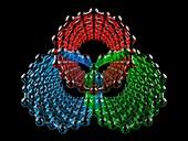 Three intersecting nanotubes, illustration