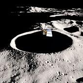 Lunar Reconnaissance Orbiter over the Moon, illustration