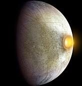 Impact on Jupiter's moon Europa, illustration