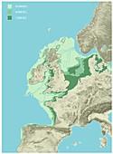 Prehistoric Doggerland region, illustration