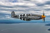 North American P-51B Mustang in flight