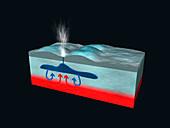 Ice geyser on Europa, illustration