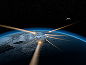 Meteors in the Earth's atmosphere, illustration