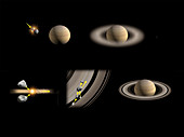 Formation of Saturn's rings, illustration