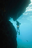 Silhouette of a diver at cave entrance