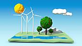 Wind farm, illustration