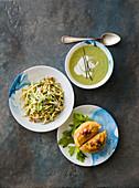 Trofiette with celery, stuffed celeriac and cream of celery soup