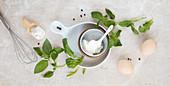 Ricotta, basil, eggs and flour