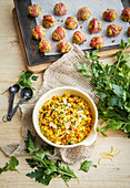 Curried rice and mango stuffing
