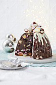 Rocky road chocolate ice-cream bombe