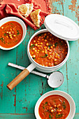 Tomato, basil and chickpea soup