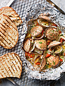 Baked clams and grilled bread