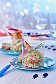 Crab remoulade with bean sprouts, apple and lemon