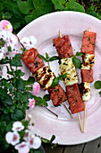 Grill Halloumi skewer with watermelon, chili and mint
