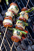 Grilled scallops with chorizo and asparagus